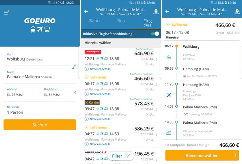 reise planen app goeuro